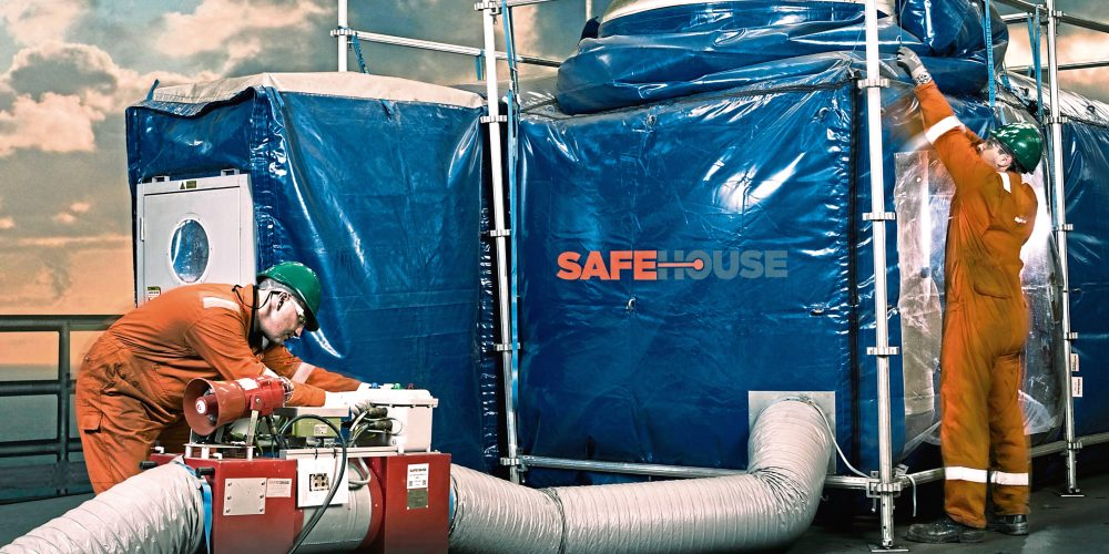Safehouse Habitats technicians carrying out safety checks on pressurised habitat.